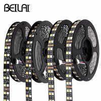 Tira de LED RGB impermeable 5050 120 LEDs/m doble fila negra PCB cc 12V 24V RGBW RGBWW tira de cinta de Luz LED Flexible neón Luz
