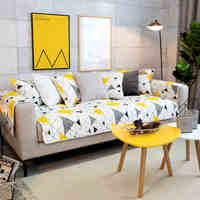 Modern Yellow Geometry Cotton Non Slip Decoration Sofa Covers For Living Room Combination Slipcovers Cotton Sofa
