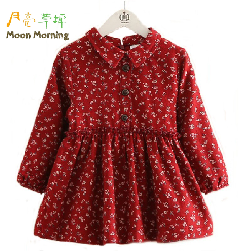 Moon Morning Girls Blouse Longo Cotton Floral Print Turn-down Collar Children Dresses Draped Wood Button Spring Autumn Garment