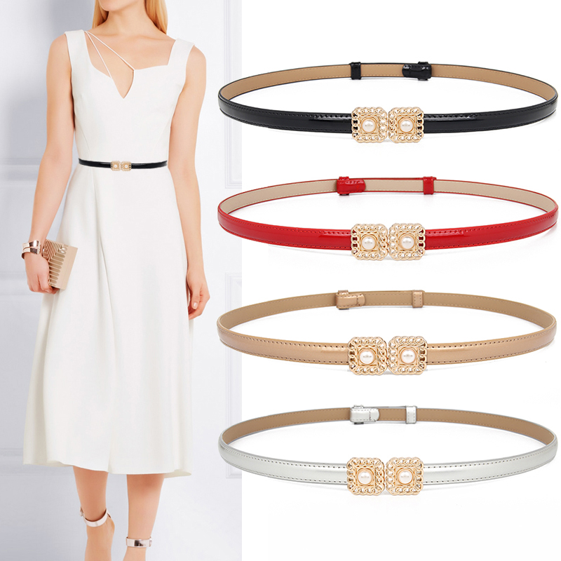 New Design Waistbands Fashion Women's Cummerbund Thin Black Genuine Leather Female HOT Gold Adjust Pearl Waistband Fancy Vintage