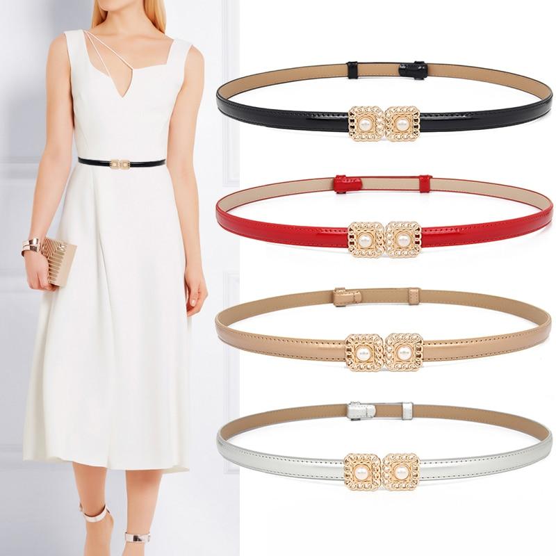 New Design Waistbands Fashion Women's Cummerbund Thin Black Genuine Leather Female HOT Gold Adjust Pearl Waistband Fancy Vintage
