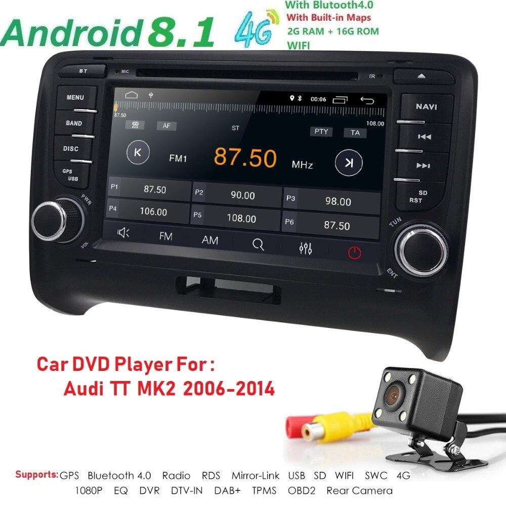 Android 8.1 HD 1024*600 voiture lecteur DVD Radio pour Audi TT MK2 2006-2014 4G WIFI GPS Navigation tête unité 2 din 2 gramme DVR SWC BT - 3