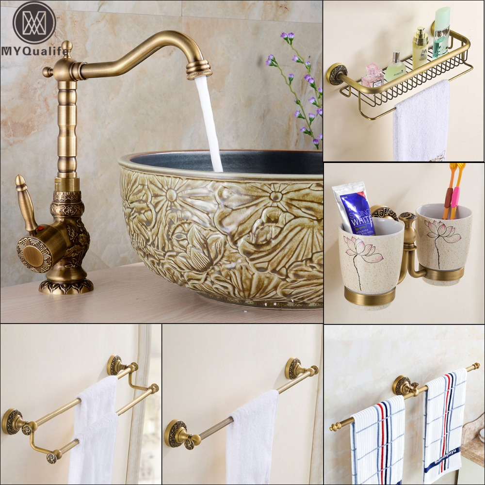 Antique Brass Basin Faucet Decorate Hot Cold Water Mixer Tap Wall Mounted Bathroom Towel Bar Storage Holder Mixer FaucetAntique Brass Basin Faucet Decorate Hot Cold Water Mixer Tap Wall Mounted Bathroom Towel Bar Storage Holder Mixer Faucet