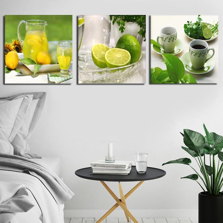 Triptych limon meyvəsi yaşıl kətan kətan izlərində evin - Ev dekoru - Fotoqrafiya 2