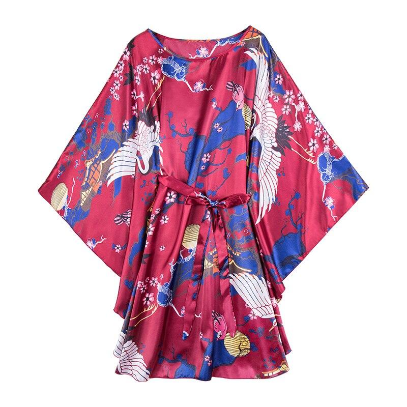 Daeyard Women Silk Satin Floral Print Short Kimono Batwing Sleeve Robe Wedding Bride Bridesmaid Robe Sexy Sleepwear Home Clothes in Robes from Underwear Sleepwears