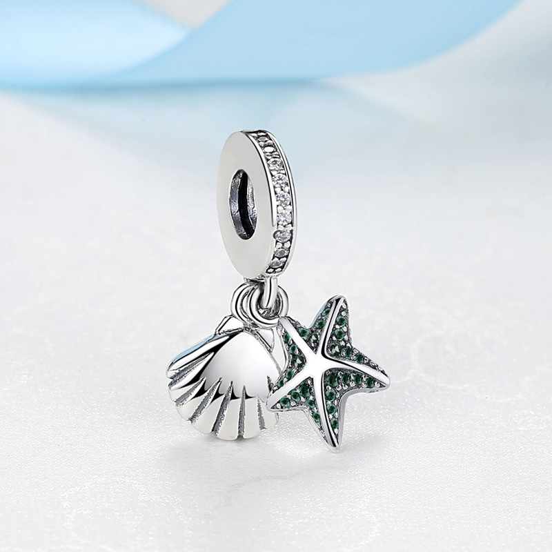 31861f82c Authentic 100% 925 Sterling Silver Charm Bead Tropical Starfish & Sea Shell  Dangle Charms Fit Pandora Bracelet Women DIY Jewelry-in Beads from Jewelry  ...
