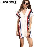 1 Pcs Summer Chiffon Dress Women Backless Sexy V Neck Striped Short Sleeve Dress Loose White