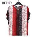 BFDADI 2017 Новый Летний Плюс размер женщин Дамы Полые Сетки рубашка печати случайные Свободные Футболки Летучие Мыши с коротким рукавом топ тис 9006
