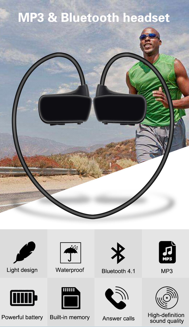 Escytegr MP3 Player Wireless Outdoor Sports Earphones Bluetooth 4.1 Earphone MP3 Headset Headphones With Mic For Mobile Phone