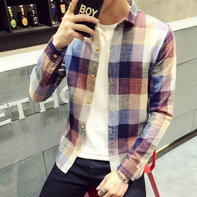 Check Shirts For Men Loose Men Button Up (15)