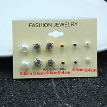 6 Pairs/Card Imitation pearls Crystal Earring Stud Fashion Simple Style Earrings DIY for Girl's Gift e0126