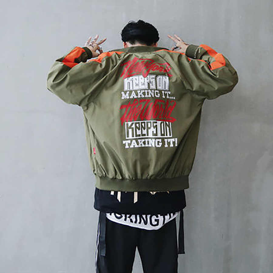 Bomberjack Mannen Pilot Gedrukt Streetwear College Baseball Coaches Jacket Vintage Mannelijke Windjack Heren Jassen 5J55