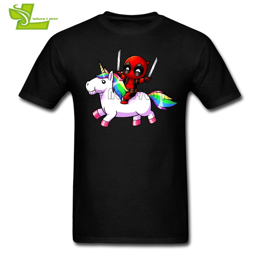 Deadpool  Riding A Unicorn T Shirt Men Short Sleeve O Neck Tee Adult Newest Big Tops Printed Summer Teenage Tee Shirts