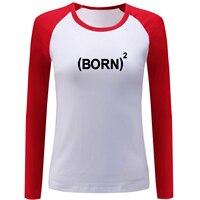 IDzn Women S Raglan Sleeve Funny T Shirt Creative Born Again 2 Pattern Spring Autumn Cotton