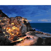 With Frame Pictures Painting By Numbers DIY Digital Oil Painting Christmas Decoration Gifts Manarola Night Seaside