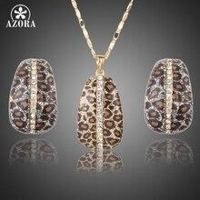 AZORA Chapados En Oro de Leopardo Con Stellux Cristal Austriaco Pendientes de Clip y Joyería Pendiente Del Collar Sets TG0204