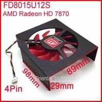Envío Libre 75mm 12 V 0.5A FD8015U12S 4 Hilos Tarjeta de Vídeo Ventilador de refrigeración Para MSI R7950 AMD/ATI Radeon HD 7870 de Enfriamiento ventilador