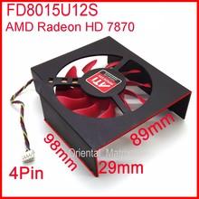 Free Shipping FD8015U12S 75mm 12V 0.5A 4 Wire Video Card Cooler Fan For MSI R7950 AMD/ATI Radeon HD 7870 Cooling Fan