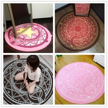 WINLIFE 160*160cm Anime Sakura Round Style Decoration Fluffy Rugs Anti-Skid Shaggy Area Home Bedroom Carpet Floor Mat