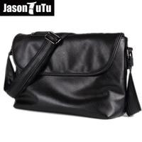 JASON TUTU Brand Design Shoulder Bags British Style Small Messenger Bag Men Leather Black Crossbody Bag