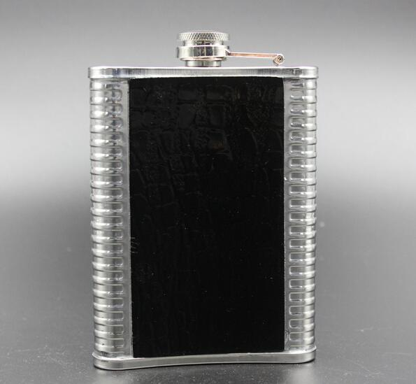 Portable 9oz Leather Stainless Steel Hip Flask Liquor Alcohol Drink Whisky PocketBottle Cap Funnel Drinkware Bottle Wine