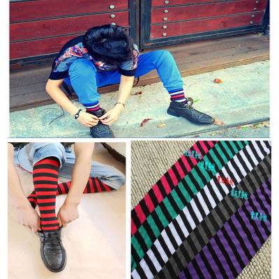 The mens sexy black and White Striped Tights Pantyhose Stockings man man low rise thin silk panty hose