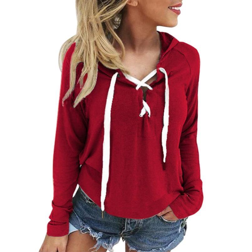 Women Hoodie Sweatshirt Lace Up Long Sleeve Crop Top Pullover Tops bandage plus size women clothing blusa feminina