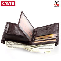 KAVIS Rfid 100% Genuine Leather Wallet Men Coin Purse Mens Portomonee PORTFOLIO Card Holder Male Walet Perse Small Perse for boy