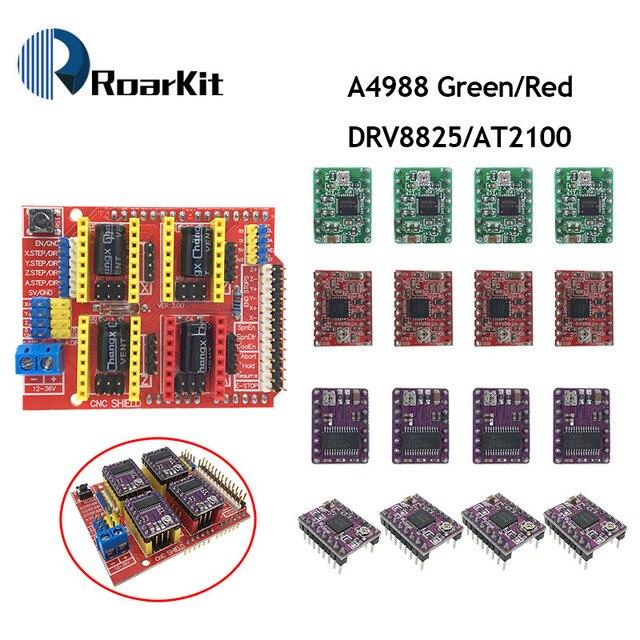 Nova máquina de gravura do CNC Escudo v3/3D Impressora/+ 4 pcs A4988/DRV8825/AT2100 Motorista Expansão board para Arduino DIY K