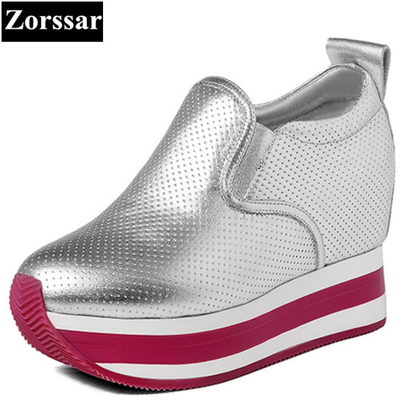 {Zorssar} 2017 Womens platform Shoes Genuine leather Wedges High heels Pumps female casual shoes Women height increasing shoes 2016 new women shoes spring womens platform genuine leather shoes pumps wedges female heels shoes sapatos femininos xj 056