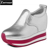 Zorssar 2017 Womens Platform Shoes Genuine Leather Wedges High Heels Pumps Female Casual Shoes Women