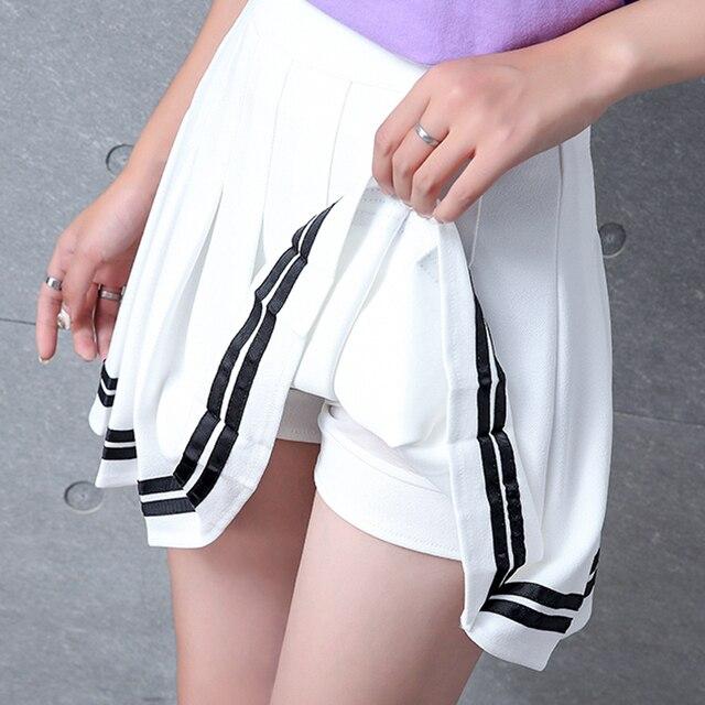 XS-XXL High Waist A-Line Women Skirt Striped Stitching Sailor Pleated Skirt Elastic Waist Sweet Girls Dance Skirt Plaid Skirt 71