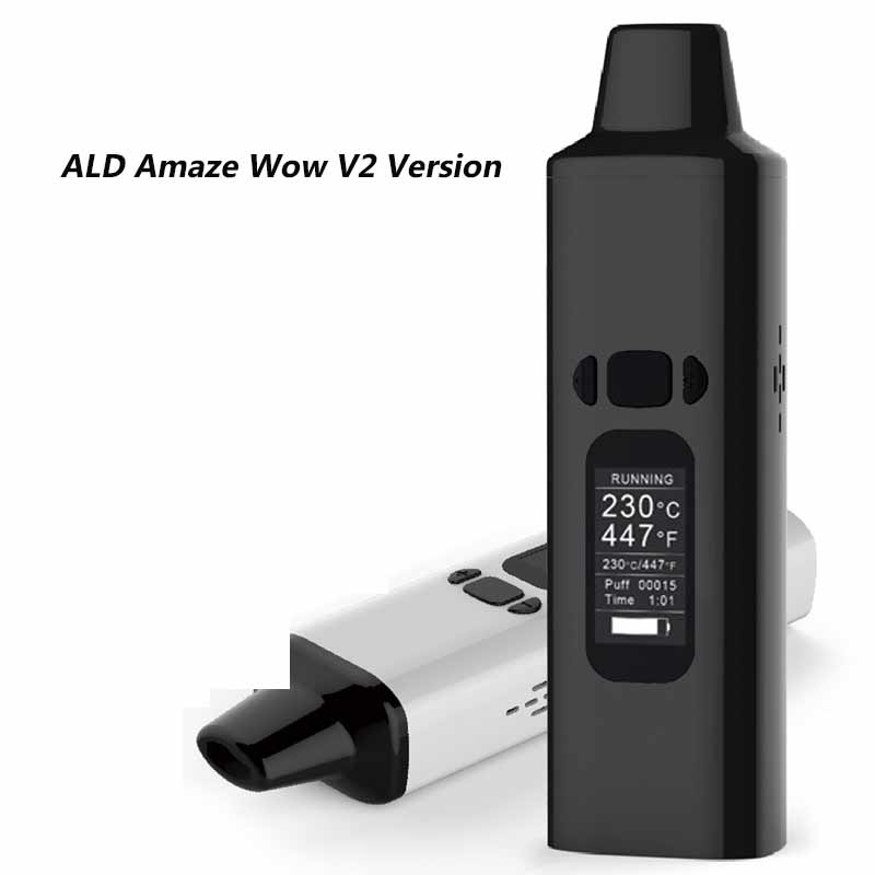 ALD Amaze V2 Version 1800mah Built-in battery Dry Derb Vape pen kit AIO 0.96 inch herbal vaporizer electronic cigarette kit