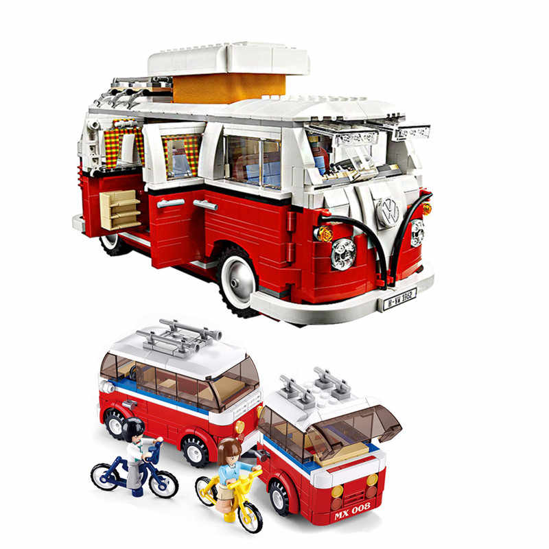 1354Pcs Technic Series Volkswagen T1 Camper Van IEGO 10220 Model Building Blocks Kits Set Bricks Toys
