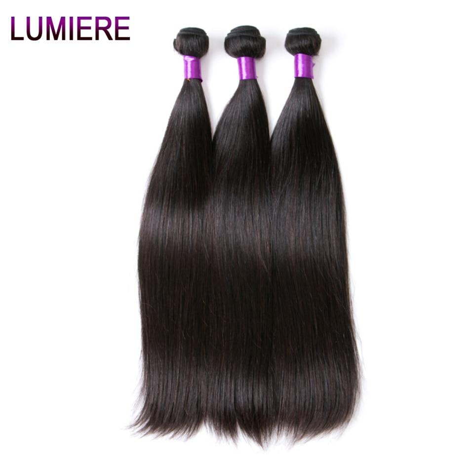 Lumiere Hair Perui taisni matu pieaudzēšanas līdzekļi Remy Hair - Cilvēka mati (melnā krāsā) - Foto 1