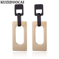 Kuziduocai 2018 New Fashion   Fine   High-End Jewelry Titanium Stainless Steel Rectangle Geometry Stud   Earrings   For Women Gift E1192
