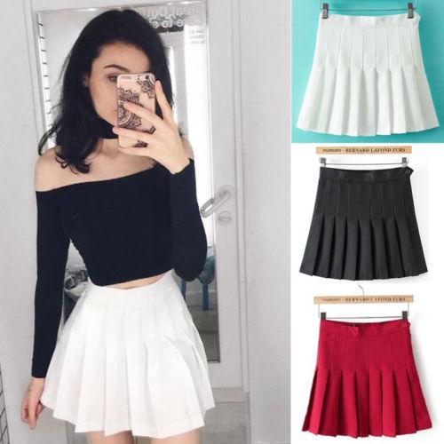 240651ad7 Korean Women High Waist Plain Skater Skirt Pleated Short Skirt Summer Lady  Girl Ruffles Skirts