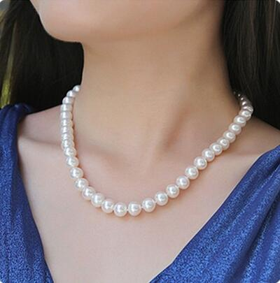 Women Gift Freshwater Jewelry natural freshwater 9-10mm white round cultured pearl necklace