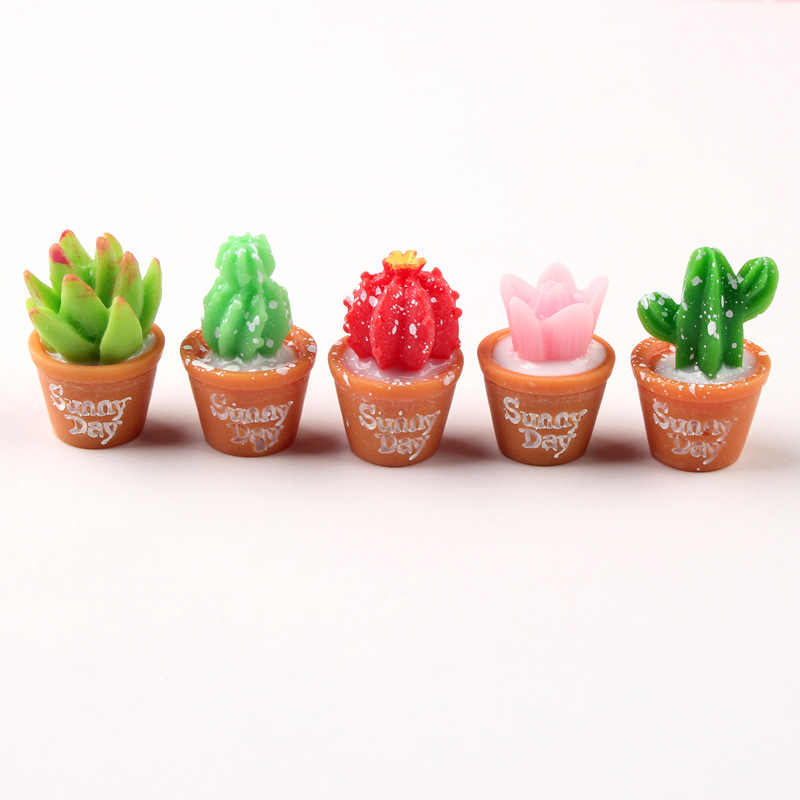 5Pcs/Lot Cactus Potted Plant Polymer Slime Charms Lizun Modeling Clay DIY Accesorios Box Toy For Children Slime Supplies Filler