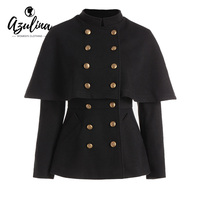 AZULINA Autumn Coat Women Black Double Breasted High Waisted Short Capelet Coats Female Casual Stand Up