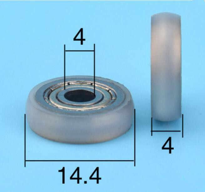 DuoWeiSi 4*14.4*4 มิลลิเมตรไนลอน pom POM พลาสติกเคลือบแบริ่งรอกตู้โชว์ลิ้นชักขนาดเล็ก 604zz แบริ่ง 47 กิโลกรัมภายใน 4 มิลลิเมตร
