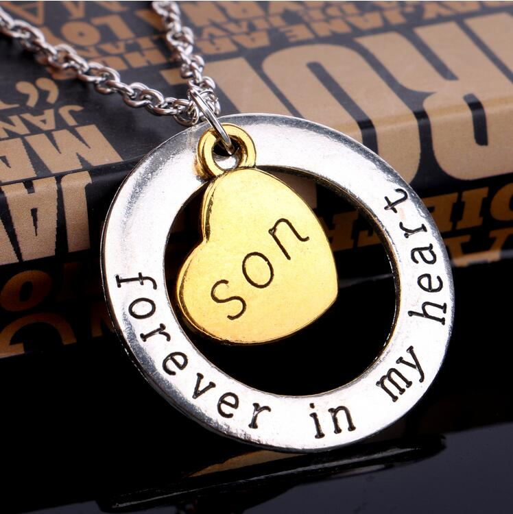 Christmas Gift Fashion Mom Necklace Son Love Forever In My Heart Dad Pandent For Women Daughter Jewelry Collier Femme Pendant Necklaces From