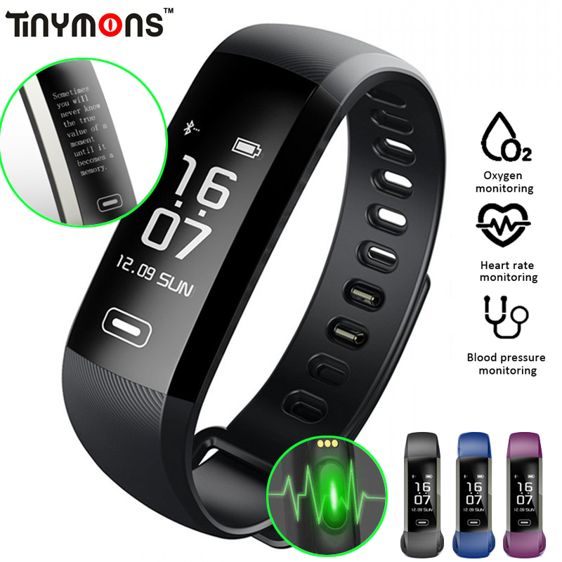 Tinymons M2 Pro Smart WristBand Fitness Tracker Bracelet Heart Rate Blood Pressure Watch Pulse Meter Oxygen SMS Call Sport band
