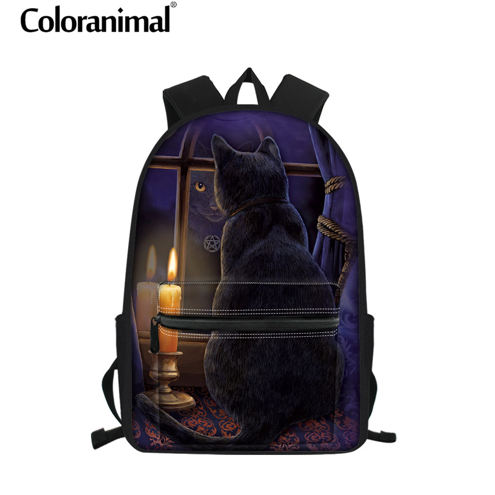 Coloranimal Shoulder Bag Purple Space Stars Galaxy Kitty Cat Girl Boy School Bag 3pcs Children Rucksack for Kid Backpack Satchel in Backpacks from Luggage Bags