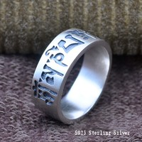 Thai silver ring S925 sterling silver six words mantra big Buddha curse male and female models authentic body care ring