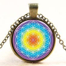 purple blue OM pendant necklace flower of life jewelry mandala statement necklace long necklaces Yoga jewelry Zen jewellery(China)