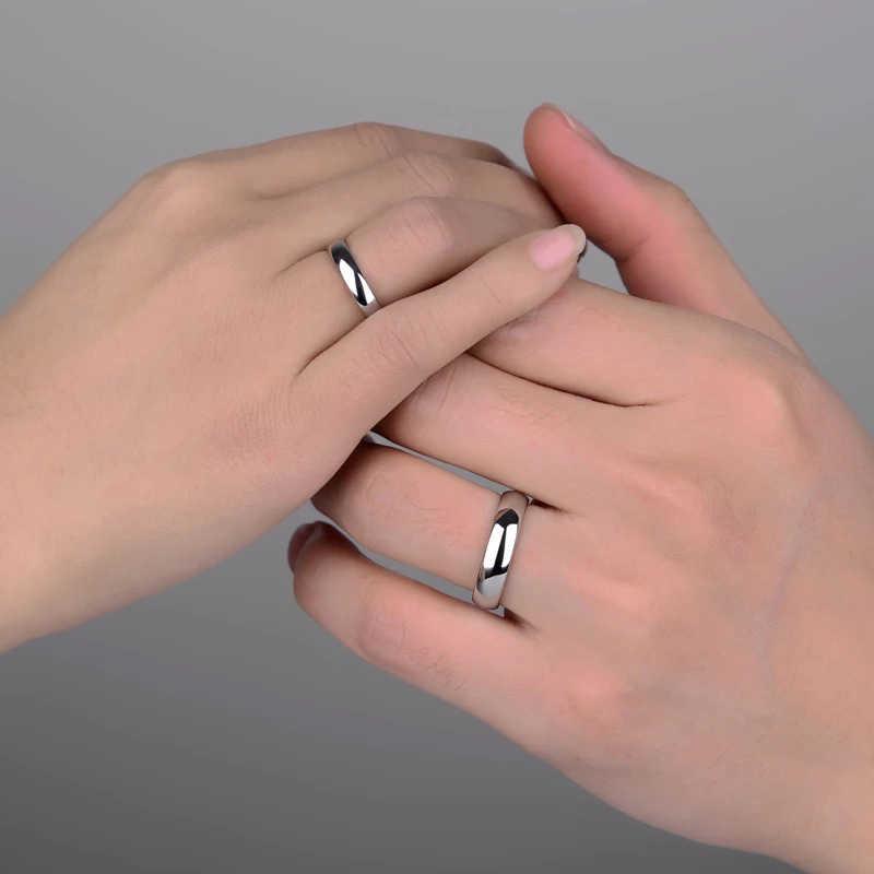 Letdiffery חלק נירוסטה זוג טבעות זהב פשוט 4MM נשים גברים אוהבי חתונה תכשיטי אירוסין מתנות