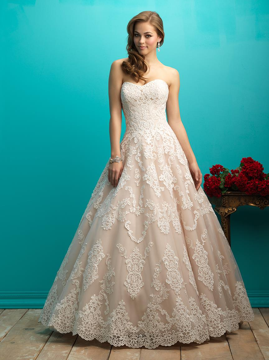 2017 Strapless Sweetheart A line Long Train Lace Ivory Champagne ...