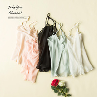 100 Pure REAL SILK Basic Women Solid Simple Camisoles High Quality Bralet Body Transparent New 2016