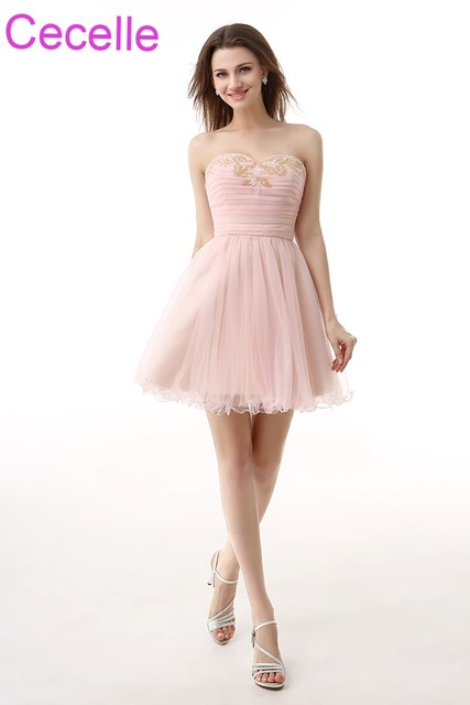 Blushing Pink Short Cocktail Dresses 2018 Sweetheart Beaded Ruched A